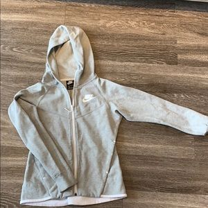 Grey women's Nike hoodie/zip up